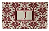 Manual Woodworkers & Weavers Dobby Bath Rug, 4 by 6-Feet, Monogrammed Letter J, Crimson Damask
