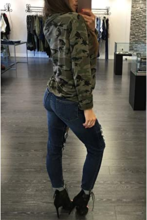 VJGOAL Camisa Casual de Manga Larga para Mujer de Moda Slim Sexy con Cuello en v Blusa Hueca Camuflaje Tops de impresión