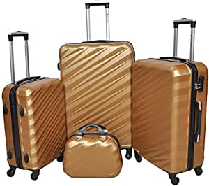 New Travel Solid Luggage Trolley Bag, 4 Wheels, 4 Pieces - Gold
