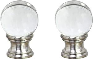 "Aspen Creative 24014-12, 2 Pack Clear Glass Ball Lamp Nickel Finish, 1 1/2"" Tall Finial"