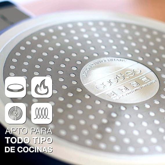 Cecotec Pack de 3 sartenes con Revestimiento cerámico ecológico de Piedra. 5 mm de Grosor. Aptas para Todas Las cocinas, Incluidas Las de inducción. ...
