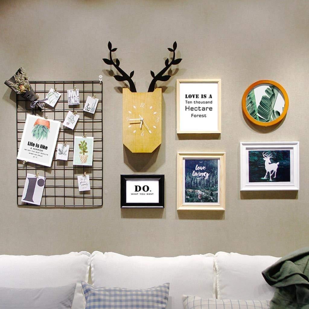 Jjek K Photo Frame Photo Wall Photo Wall Collage Ins Grid Photo Wall Set Living Room Photo Frame Personalized Wall Clock Creative Photo Frame Combination by Jjek (Image #2)