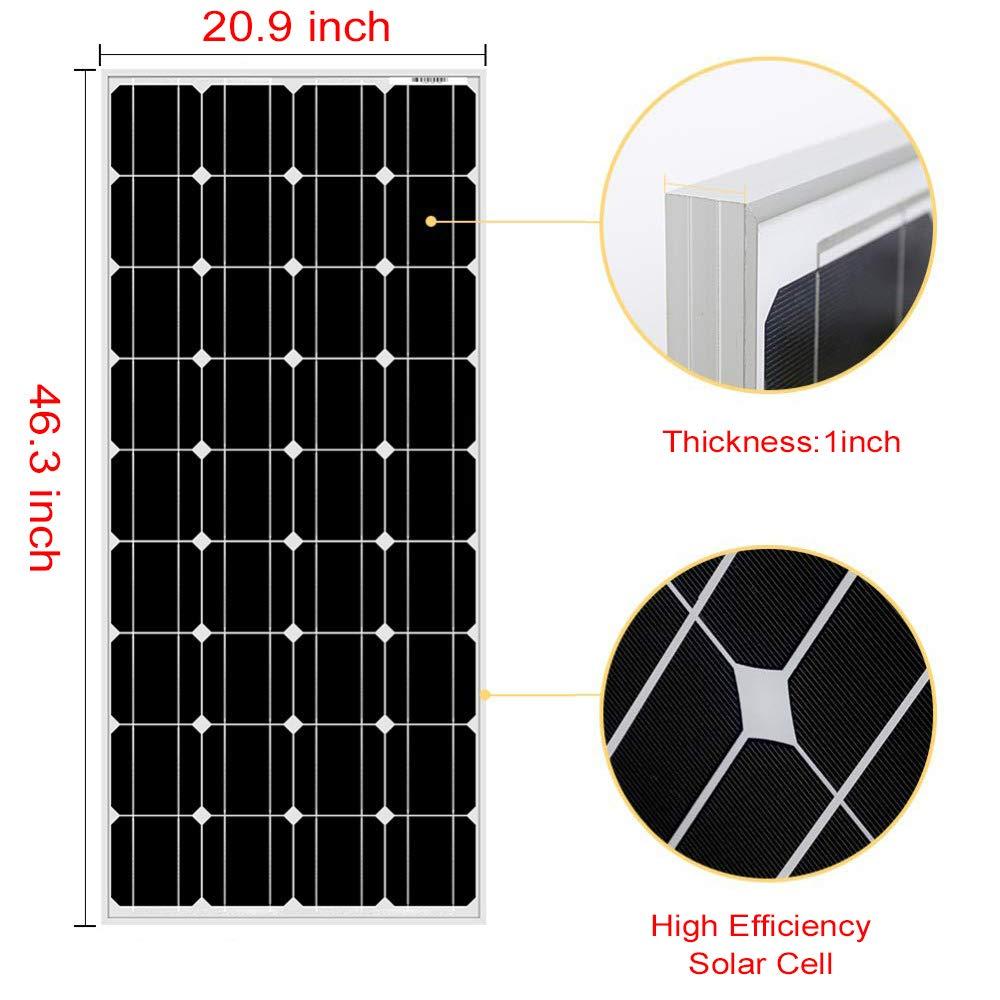 DOKIO 100 Watt 12 Volt Monocrystalline Solar Panel High Efficiency Mono Module RV Marine Boat Off Grid