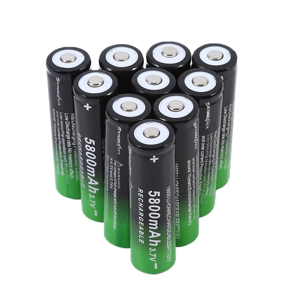 Rechargeable Batteries 10Pcs 5800mAh 3.7V 18650 Rechargeable Batteries Asever