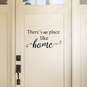 "Vinyl Wall Art Decal - There's No Place Like Home - 11.5"" x 22.5"" - Modern Charming Welcome Door Living Room Apartment Trendy Indoor Outdoor Friendly Household Sign Decor (11.5"" x 22.5"", Black)"