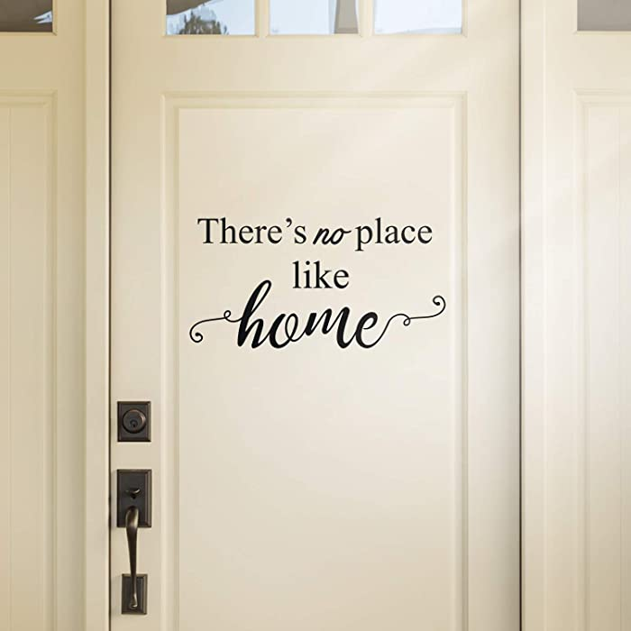 """Vinyl Wall Art Decal - There's No Place Like Home - 11.5"""" x 22.5"""" - Modern Charming Welcome Door Living Room Apartment Trendy Indoor Outdoor Friendly Household Sign Decor (11.5"""" x 22.5"""", Black)"""