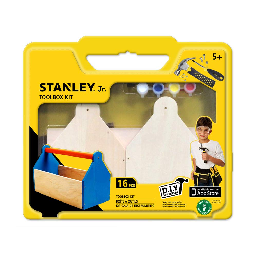 Stanley Jr DIY Toolbox Kit for Kids - Easy to Assemble Wood Craft Toolbox - Build A Tool Box for Kids - Paint & Brushes Included by Stanley Jr (Image #2)