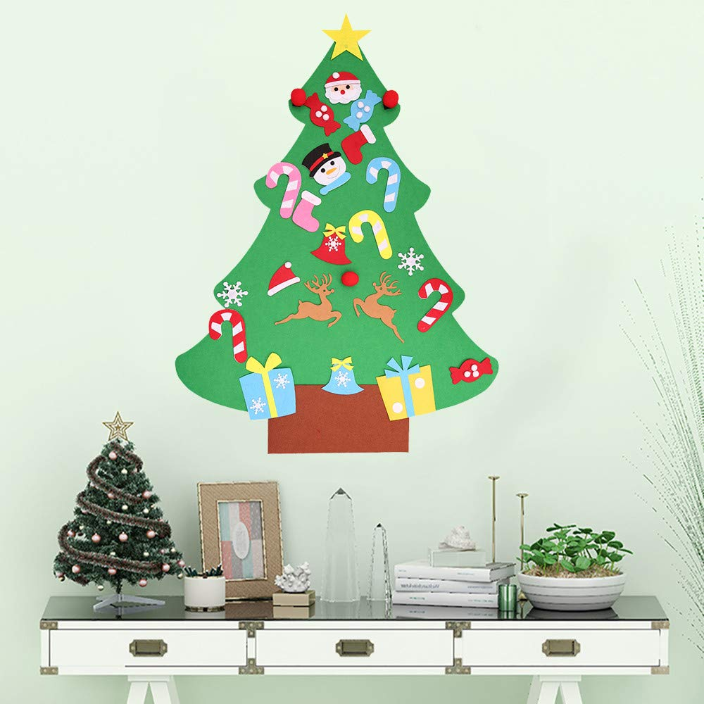 Hanging Christmas Decorations Diy.Amazon Com Diy Felt Christmas Tree Set With Xmas Detachable