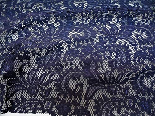 Veils Wedding Discount (Swatch Sample Discount Fabric Stretch Mesh Lace Navy Paisley Sheer Metallic Sheen B405)