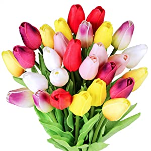 "28 Pcs Multicolor Tulips Artificial Flowers Faux Tulip Stems Real Feel PU Tulips for Easter Spring Wreath Wedding Bouquet Centerpiece Floral Arrangement Cemetery Table Décor 14"" Tall"