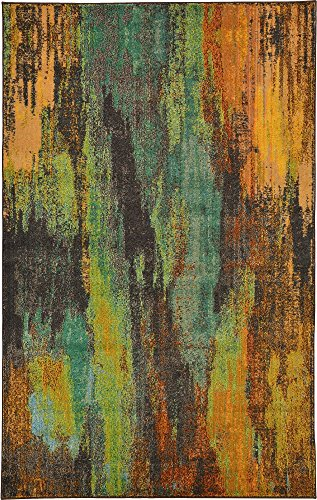 Unique Loom Jardin Collection Vibrant Abstract Multi Area Rug (5' 0 x 8' -