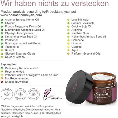 Creme Facial Antiarrugas con Retinol PURO para Hombre y Mujer - VEGAN - 2,5% Retinol Fórmula Anti-Rughe con Vitamina E y Aceite de Argán - 50ml de Crema Hidratante para la Cara - MADE IN GERMANY