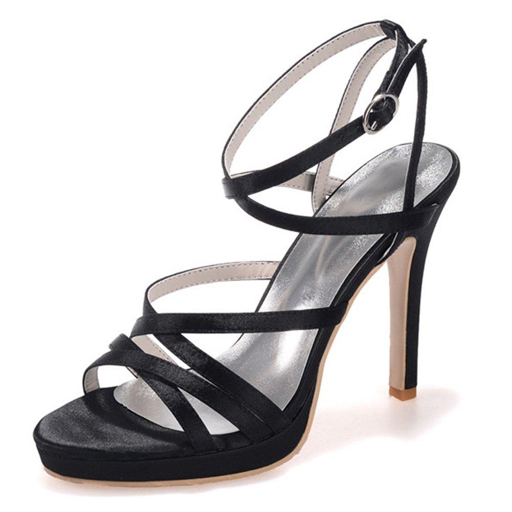 Noir Elobaby Chaussures De Mariage pour Femmes sur La Boucle De Bal pour Printemps en Soie Peep Toe Chunky Party & SoiréE LC-5915-03 40 EU