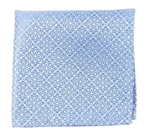 The Tie Bar 100% Silk Light Blue Opulent Geometric Pocket Square