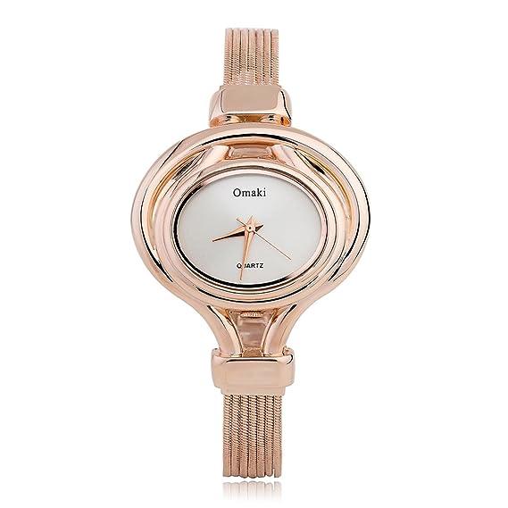 omaki mujeres Oval esfera de oro rosa Casual reloj de pulsera analógico de cuarzo pantalla moda muñeca relojes: Amazon.es: Relojes