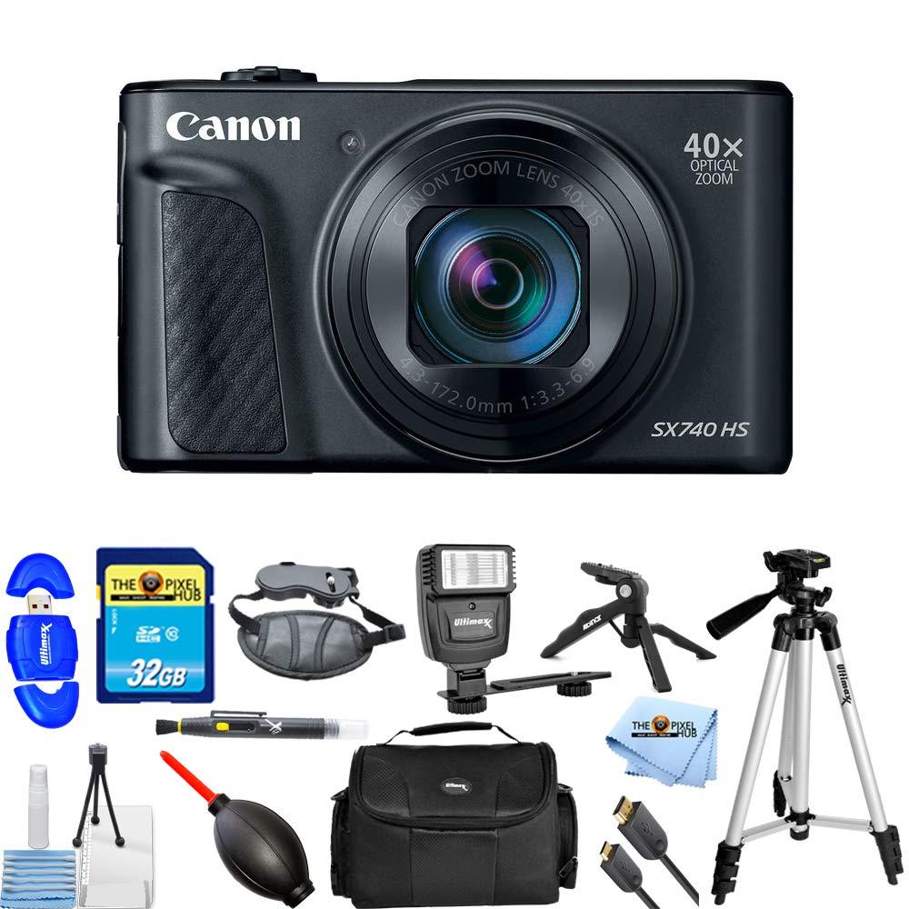 Canon PowerShot SX740 HS 20.3MP デジタルカメラ (ブラック) 2955C001 PRO 32GBメモリーカード、フラッシュ、三脚、HDMIケーブル、ガジェットケース付き [国際版]   B07KWBJV5X