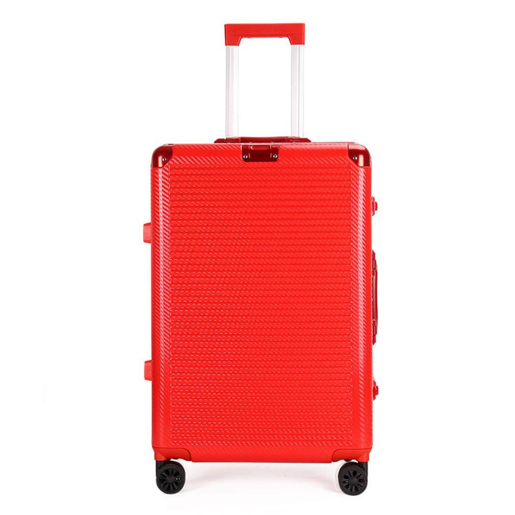 2019新しいトロリーケースABS + PCウェディングスーツケース型ボックス20インチユニバーサルホイールパスワードスーツケースカジュアルアルミフレームトロリー(fenmei),Red,20inches B07QVCNG8G Red 20inches