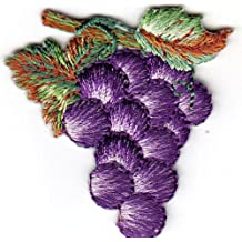 AMK - GRAPES - FRUIT - FOOD - GRAPE & LEAVES - Iron On Embroidered Applique Patch
