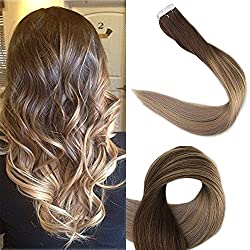 Full Shine 18 inch Tape in Colored Hair Extensions Balayage Hair Highlight Color #4 Fading to #18 and #27 Straight Glue in Extensions 50g 20 Pcs/Package