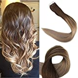 fading Full Shine 16inch Balayage Hair Extensions Human Hair Tape in Full Head Human Hair Extensions Ombre Color #4 Brown Fading to #18 and #27 50g 20Pcs