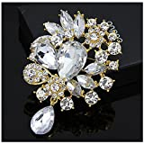 LAYs Vintage Flower Brooch Pin Rhinestone Jewelry for Women Party Dress Clothing Decor