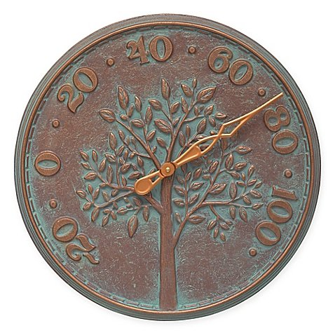 Whitehall Products Tree of Life Outdoor Thermometer in Copper Verdigris