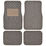 BDK Checkered Style Print ( Beige ) Premium Thick Plush Carpet Car Floor Mats