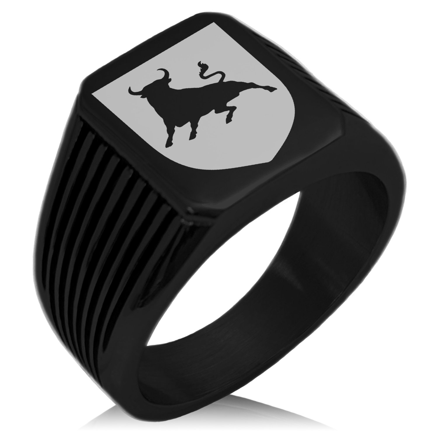 Tioneer Black IP Plated Stainless Steel Bull Bravery Coat of Arms Shield Engraved Needle Stripe Pattern Biker Style Polished Ring, Size 12