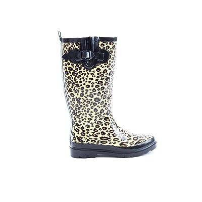 Soho Shoes Women's Rubber Knee High Leopard Wellington Rain Boots