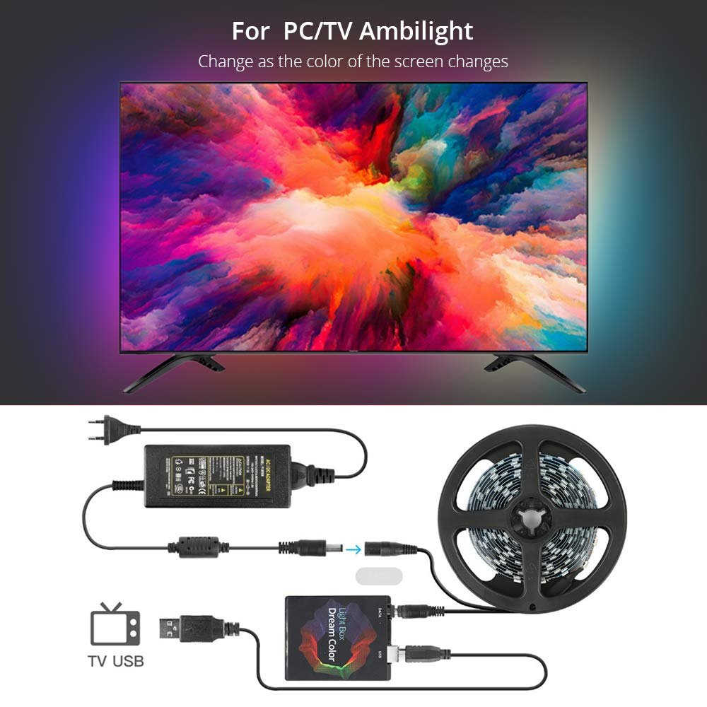 Ambilight USB LED Strip Light Kit with APP, SMD5050 RGB Dream Color Strip TV Backlight lighting, WS2812 Tape Ribbon String for 50'' 60'' 65'' 70'' HDTV, Desktop PC Screen, Individually Addressable LED