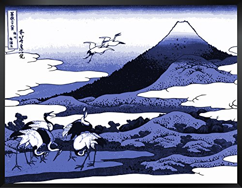ArtVerse HOK008F1418A Japanese Cranes and Mount Fuji Wood Block Print in Blue Framed Art Print 14