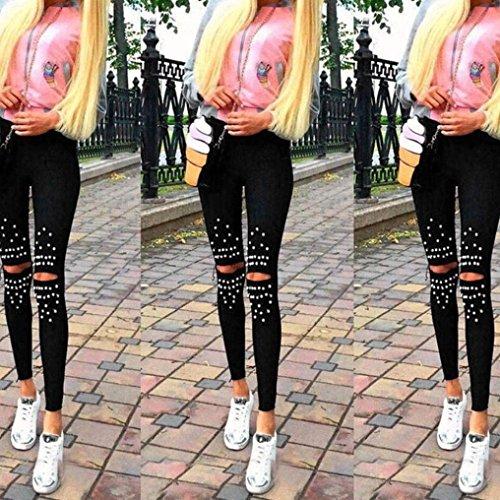 Moda Skinny Donna Tendenza Estivi Waist High Matita Pantaloni Matita Glamorous Perline Cavo Nero HaiDean Nero Semplice A Treggins Lunghe Elegante Leggins 8TFtqt