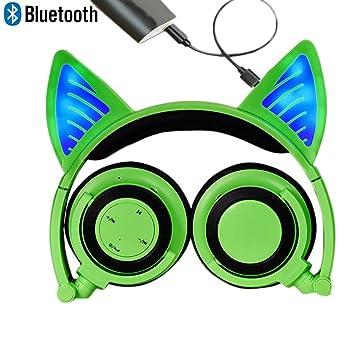 Bluetooth MIC auriculares inalámbricos recargables auriculares de gato plegable ajustable Flash auriculares de luz azul para iPhone 7 / 6S / iPad, ...