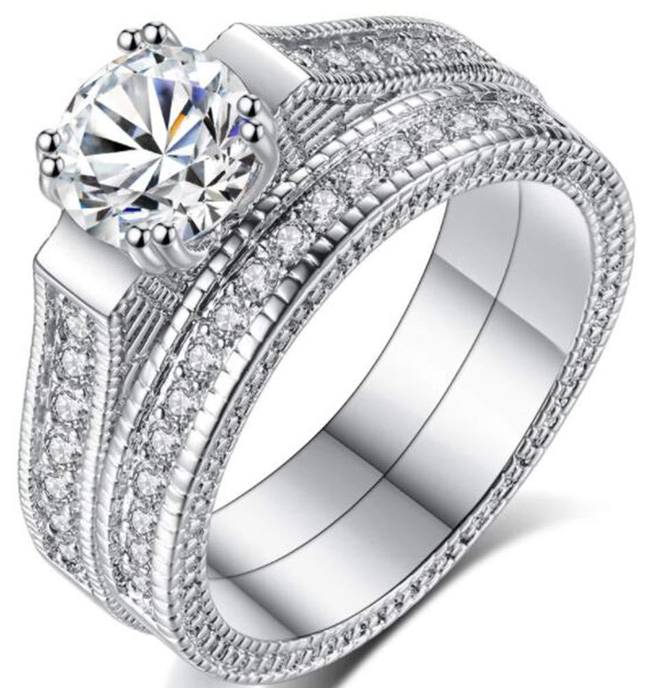 TEMEGO 14k Stackable CZ Bridal Sets Wedding Rings,Vintage Engagement Rings Milgrain Edges,Size 6