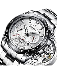 Men Automatic Mechanical Watch Luminous Luxury Brand Leather Business Fashion Casual Self-Wind Stainless Steel...