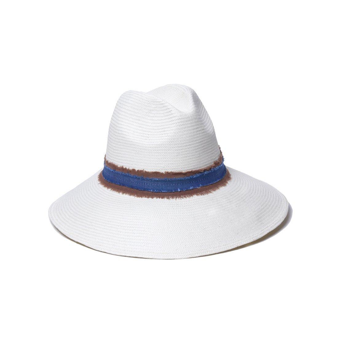 'ale by alessandra Women's Grosvenor Fine Panama Hat With Two-tone Canvas Trim, Ivory/Denim, One Size