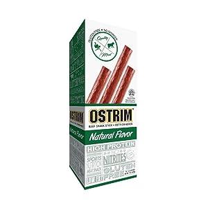Ostrim Grass-Fed Beef & Ostrich Jerky Snack Sticks-Natural Flavor, 1.5 oz (Pack of 10)