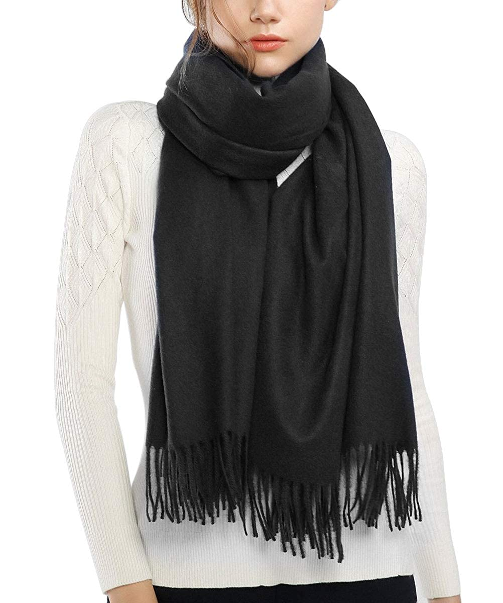 04202a793 Womens Scarves, Large Soft Cashmere Feel Pashmina Shawls Wraps Light Scarf  (Black) at Amazon Women's Clothing store:
