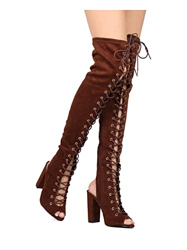 c71e3f196a Alrisco Women Faux Suede Over The Knee Peep Toe Lace Up Block Heel Boot  HG10 -