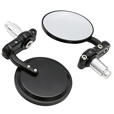 """Universal Black 3"""" Round 7/8"""" Handle Bar End Rearview Convex Mirrors Inceased Vision Side for Most Harley Davidsons Suzuki Honda Kawasaki Cruisers: Automotive"""
