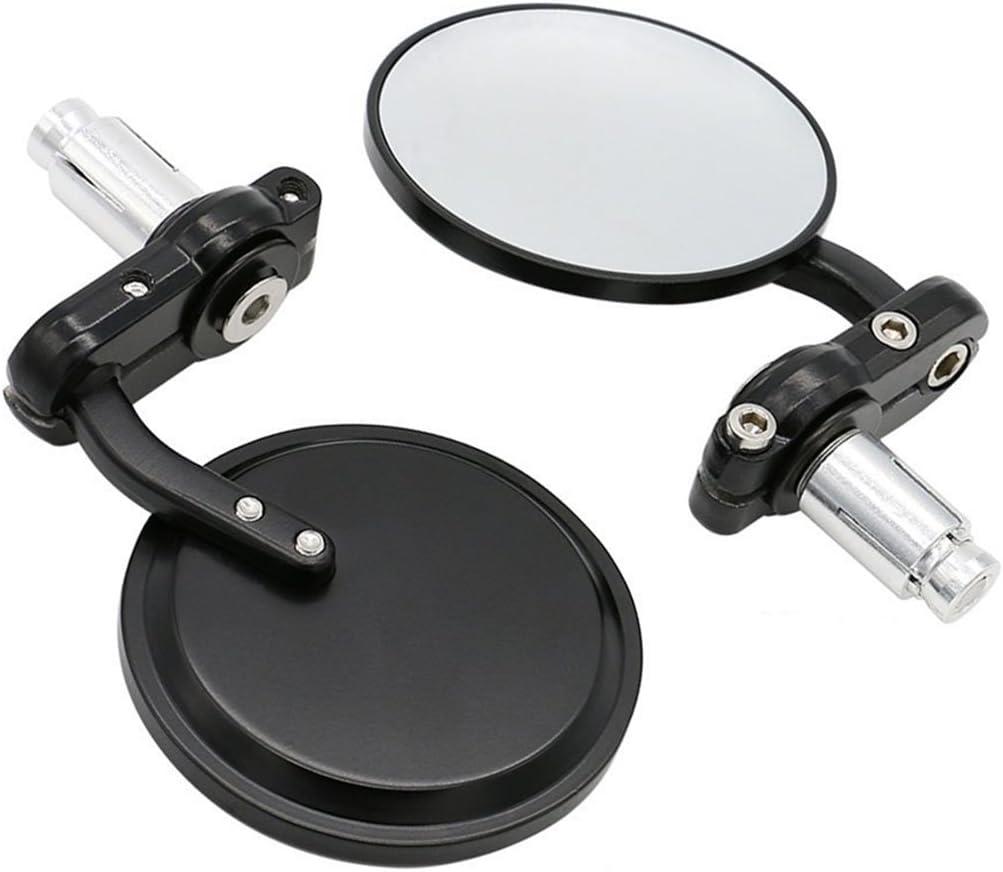 "Universal Black 3"" Round 7/8"" Handle Bar End Rearview Convex Mirrors Inceased Vision Side for Most Harley Davidsons Suzuki Honda Kawasaki Cruisers"