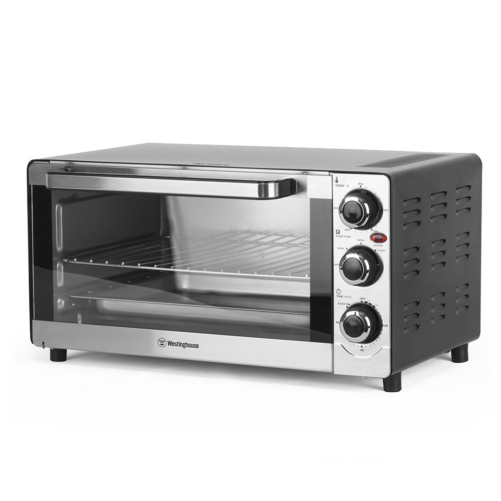 Westinghouse 6 Slice Toaster Oven, Temperature Control, Cool Touch Handle, 3 Adjustable Knobs, 4 Stand Base, Stainless Steel (Toaster Oven)