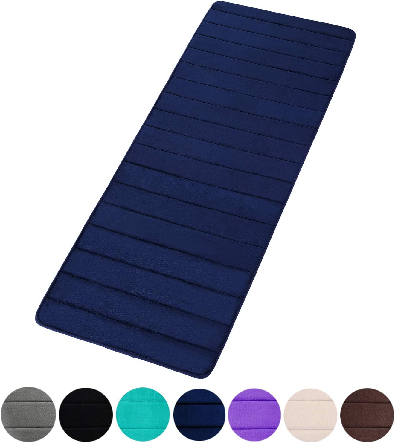 "Buganda Memory Foam Soft Bath Mats - Non Slip Absorbent Bathroom Rugs Extra Large Size Runner Long Mat for Kitchen Bathroom Floors 24""x70"", Navy Blue"