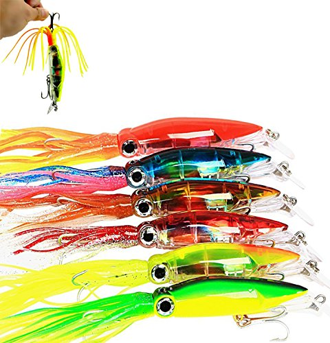 Bait Use Trout Fishing (Aomeiter Squid Skirts Hard Fishing Lures, Lifelike Swimbait Octopus Bait with 2 Treble Minnow Hooks,1.4 OZ/5.1 IN, Pack of 6)