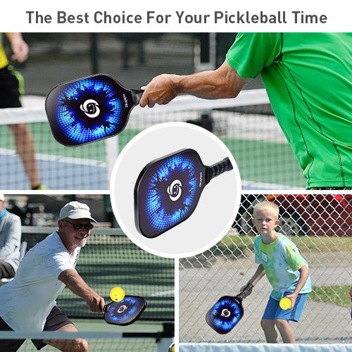 niupipo Pickleball Paddle, Graphite Pickleball Racket with Polymer Honeycomb Composite Core Ultra Cushion 4.25In Grip Low Profile Edge Bundle ...