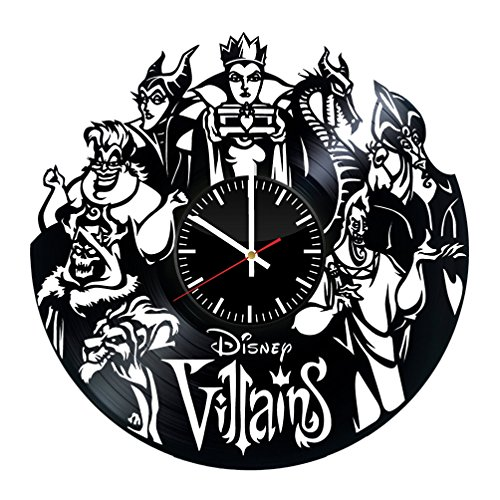 DISNEY VILLAINS Vinyl Record Wall Clock Gift for Kids Kids Room Decor Disney Fan Gift Birthday Party