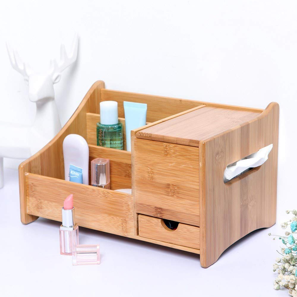 JoyShopping Natural Bamboo Desk Organizer with 3 Compartments & 1 Drawer & 1 C-fold Paper Hand Towel Case #1 CN - by JoyShopping