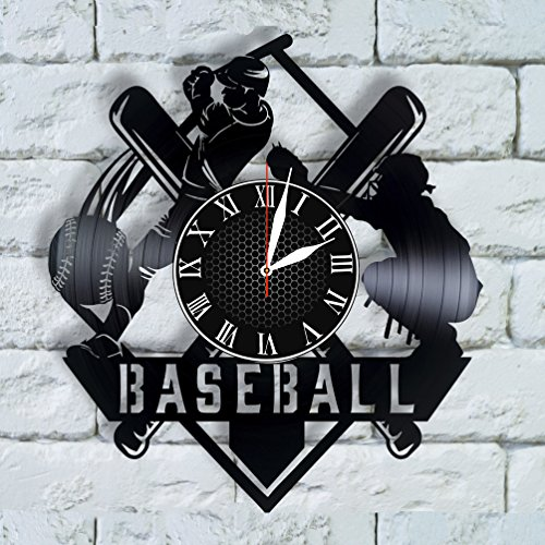Olha Art Design Baseball Gifts for men, baseball wall art vinyl clock baseball decor, baseball coach gift, baseball gift ideas, sport decor for boys -