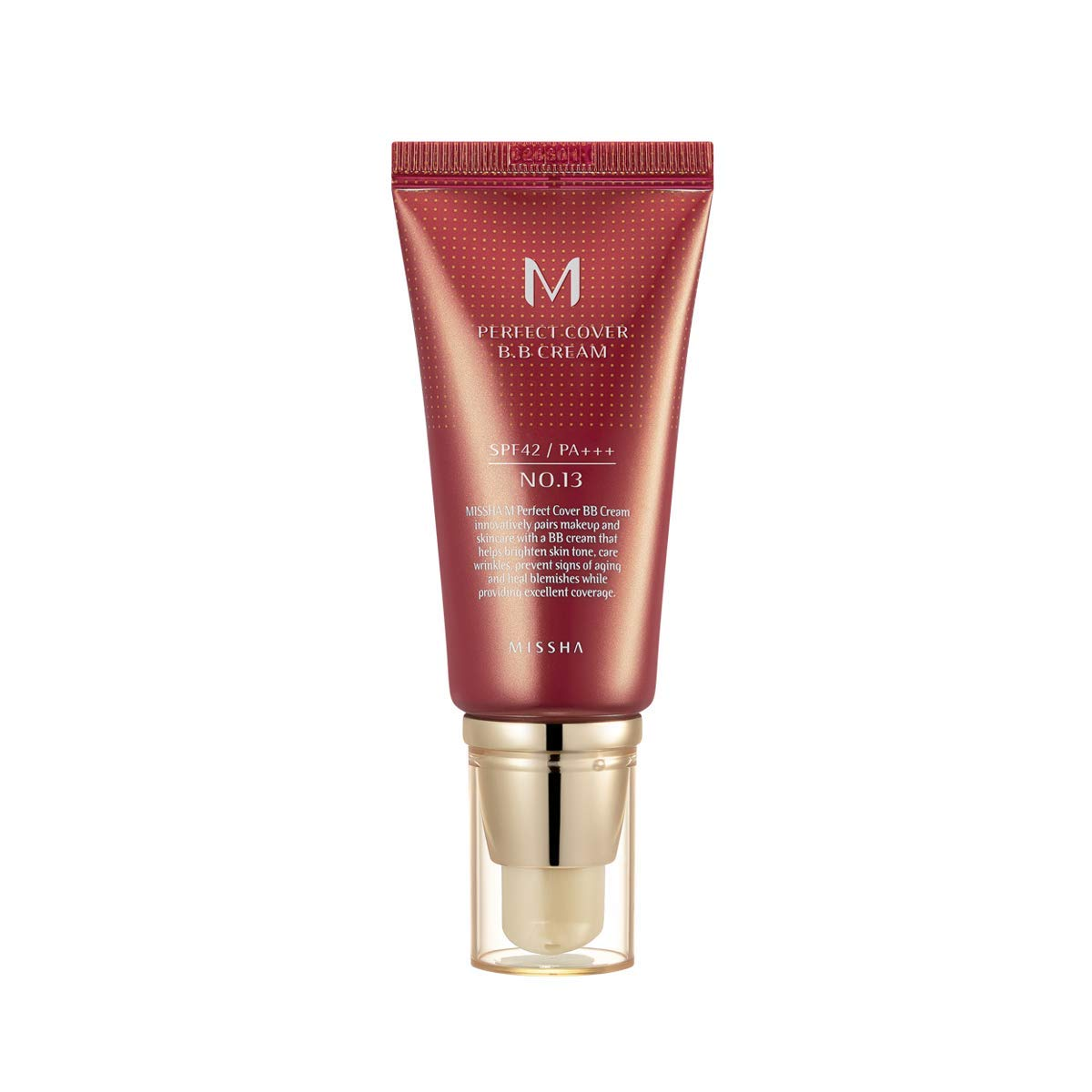 MISSHA M PERFECT COVER BB CREAM #13 SPF 42 PA+++ 50ml-Lightweight, Multi-Function, High Coverage Makeup to help infuse moisture for firmer-looking skin with reduction in appearance of fine lines