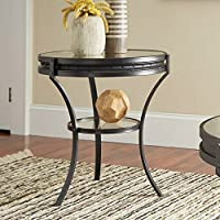Coaster 1 Shelf Round Glass Top End Table in Sandy Black